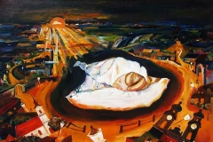 Fikner Piroska -Hajnal- Egy nagy és sok kicsi tűz egy tatai hajnalon 2013. 40×50cm, olaj, farost