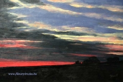 Esti felhők 1997. 40×60cm, olaj, farost