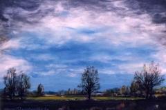 Áprilisi vihar után a szendi út felé 1998. 40×50cm, olaj, farost