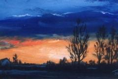 Kék alkony1 1998. 15x20cm, olaj, farost