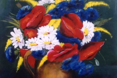 Pipacsos csendélet 1998. 40×40cm, olaj, farost