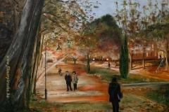 Esti séta a hévízi Schulhof Parkban 1999.35×50cm olaf, farost