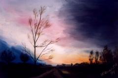 Nagy lila felhő 1999. 24×30cm, olaj, farost