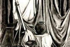 Csendélet kormos edénnyel 1999. 60×40cm, szén