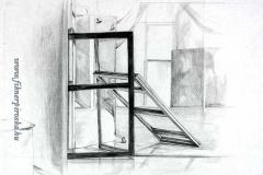 Árnyékok és tükröződések, 2000. 29×42cm, ceruza