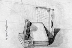Bőröndök 2000. 42×58cm, ceruza