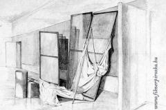Henger és drapéria 2000. 40×60cm, ceruza