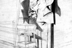 Hokedlik és papir 2000. 58×42cm, ceruza