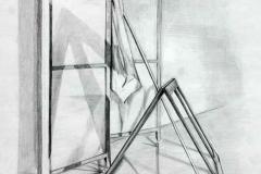 Tanulmány léccel és árnyékokkal 2000. 42×29cm, ceruza