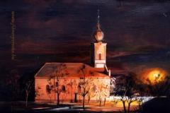 A nagyigmándi Református Templom esti fényben 2000.35×50cm,