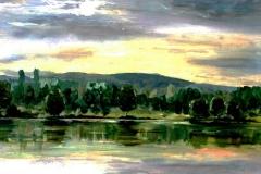 Hajnal a szálkai tónál 2000. 40×50 olaj, farost