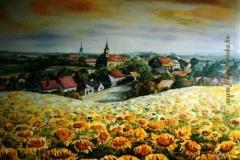 Szülőfalum Nagyigmánd 2000. 110×160 cm, olaj, vászon
