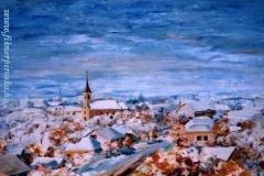 Téli kép Nagyigmándról 2000. 45×70cm, olaj, farost