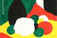 Csendélet piros-zöld-sárga 2000. 20×20cm, tempera