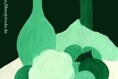 Csendélet-zöld 2000. 20×20cm, tempera