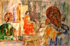 Akttanulmány készül Kaposváron 2001. 42×60 cm akvarell