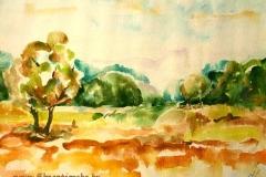 Balaton-környéki táj 2001. 30×40cm akvarell
