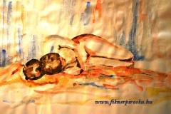 Fekvő akt 2001. 29×42cm, akvarell