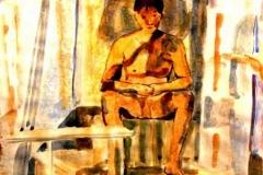 Tanulmány 2001. 21×29 cm, akvarell