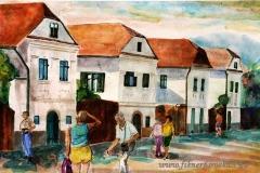 Torockói utcarészlet 2001. 21×29cm, akvarell