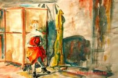 Vörös drapériával 2001. 29×42cm, akvarell