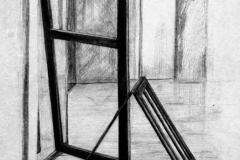 Ajtók és tükröződések 2001. 42×29cm, ceruza
