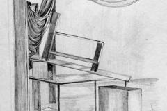 Drapériák és asztal 2001. 42×60cm, ceruza