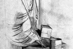 Drapéria és henger 2001. 42×60cm, ceruza