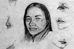 Szemek, szájak, orrok 2001. 40×60cm, ceruza