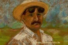 Szalmakalapos portré 2000. 18×25cm, pasztell