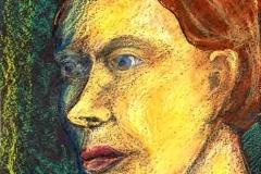 Torz portré 2000. 20×14cm, pasztell