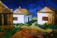 Három fehér ház 2002. 30×40cm,olaj, farost