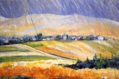 Nógrádi táj esőben 2002-O-48, 50×100cm, olaj, vászon