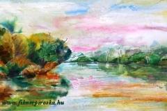 A kanyargó Tiszánál 2004. 20×34cn, akvarell