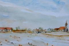 Csépi tél 2004. 16×32cm, akvarell