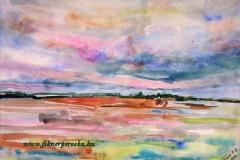 Szőkepusztai alkony 2004. 21×27 akvarell