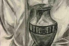 Görög vázás csendélet 2004. 30×40cm, szén