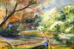 Tiszaparti csónak 2005.21×27cm, akvarell