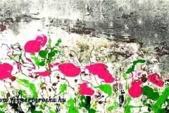 Virágos mező 2007. 19×36cm, monotípia