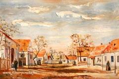 Kereszt utza - A néhai Mansbart utca Nagyigmándon2008. 30×49 cm, olaj, farost