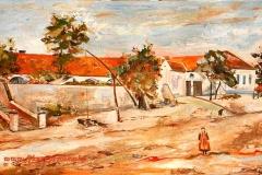 Plébánia és a Római Katolikus Iskola régen 2008. 26×50 cm, olaj farost