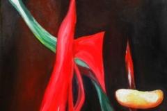 Fikner Piroska-Tánc a mécsessel 2013.45×82 cm, olaj, akril,farost