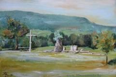 Pilisszentlélek a Pálos Kolostor romjai 2013. 300×40cmolaj,farost