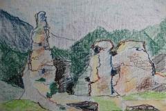 A Pilisszentlelki Pálos Kolostor romjai-2 2013. 30×40cm olajpasztell