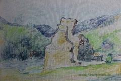 A Pilisszentlelki Pálos Kolostor romjai 1 2013. 32×48cm olajpasztell