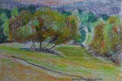 Pilisszentlelki táj 2012. 29×40cm, olajpasztell