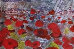 Pipacsok alkonyati esőben 2010-15. 28×38cm, színezett monotípia