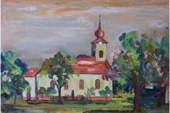 A nagyigmándi református templom tavasszal 2015. 30×40cm olaj farost