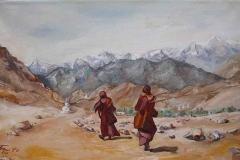 Srinagar felé 2015. 30×50cm, olaj, vászon