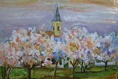 Tavasz a templomnál Mezőszemerén 2016 26×32cm, olaj, farost